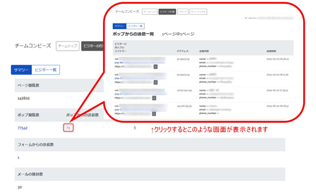 管理画面における行動レポート管理画面