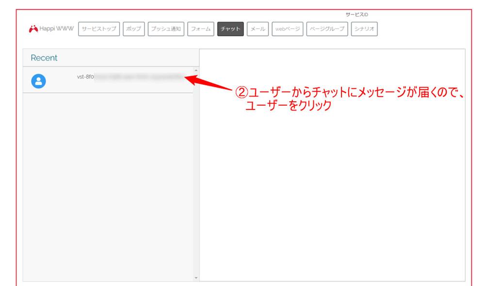 ユーザーからチャットにメッセージが届く